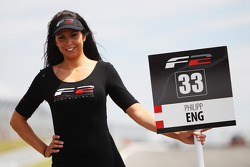 Formula Two grid girl for Philipp Eng