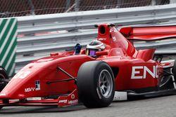 Race winner Philipp Eng crosses the line