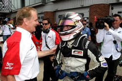 Race winner Philipp Eng is congratulated by Jonathan Palmer CEO MotorSport Vision