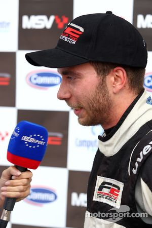 Race winner Philipp Eng is interviewed by Eurosport TV