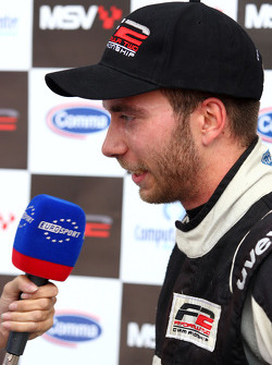 Race winner Philipp Eng is interviewed by Eurosport TV