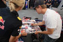Sebastian Vettel, Red Bull Racing, meets media