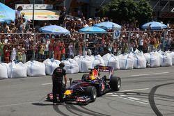 Sebastian Vettel, Red Bull Racing does a demonstration ve his F1 Car
