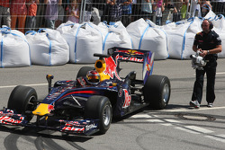 Sebastian Vettel, Red Bull Racing does a demonstration with his F1 car