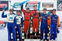 DP podium: class and overall winners Jon Fogarty and Alex Gurney, second place Scott Pruett and Memo Rojas, third place Max Angelelli and Ricky Taylor