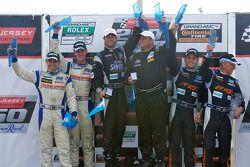 GT podium: class winner Jonathan Bomarito, second place Adam Christodoulou and John Edwards, third place Emil Assentato and Jeff Segal