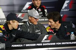 Пресс-конференция FIA: Себастьян Феттель, Red Bull Racing, Михаэль Шумахер, Mercedes GP,Марк Уэббер,