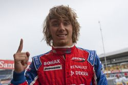 Charles Pic celebrates his pole position