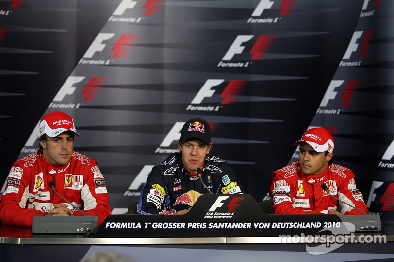 Press conference: pole winner Sebastian Vettel, Red Bull Racing, second place Fernando Alonso, third