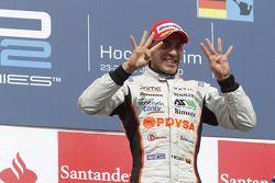 Pastor Maldonado celebrates his victory on the podium