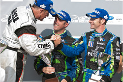 P class podium: class and overall winner Greg Pickett, second place David Brabham and Simon Pagenaud