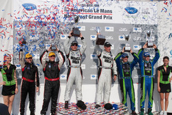 P class podium: class and overall winners Greg Pickett and Klaus Graf, second place David Brabham and Simon Pagenaud, third place Jon Field and Clint Field