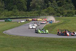 Start: #52 PR1 Mathiasen Motorsports Oreca FLM09: Alex Figge, Tom Papadopoulos van de baan