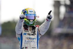 Sergio Perez celebrates his victory