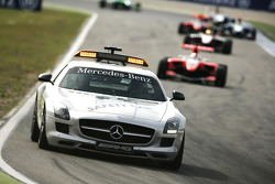 The safety car leads Daniel Juncadella and Esteban Gutierrez