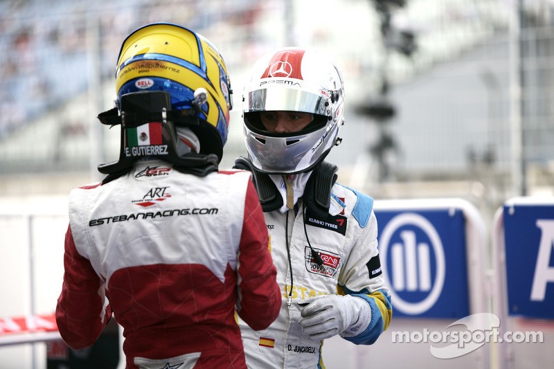 Esteban Gutierrez celebrates victory in parc ferme with Daniel Juncadella