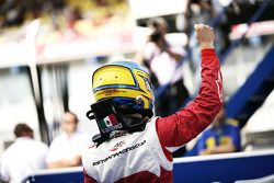 Esteban Gutierrez celebrates victory in parc ferme