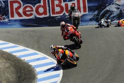 Dani Pedrosa, Repsol Honda Team leads Casey Stoner, Ducati Marlboro Team and Jorge Lorenzo, Fiat Yam