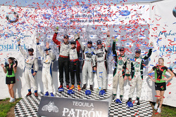 Class winners podium: GTC class winners Henri Richard and Andy Lally, GT class winners Jorg Bergmeis
