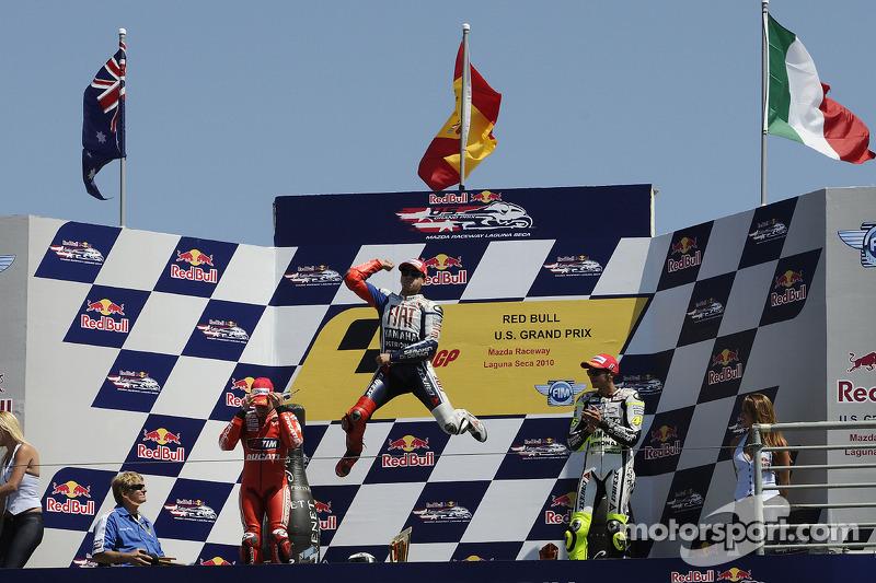 2010 - Lorenzo, Stoner et Rossi réunis sur le podium