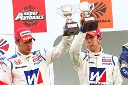 GT500 podium 2nd place:#18 Weider HSV-010: Takashi Kogure, Loic Duval