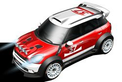 Designschets van de MINI Countryman WRC die racet in World Rally Championship vanaf 2011
