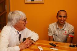 Bernie Ecclestone and Lewis Hamilton, McLaren Mercedes