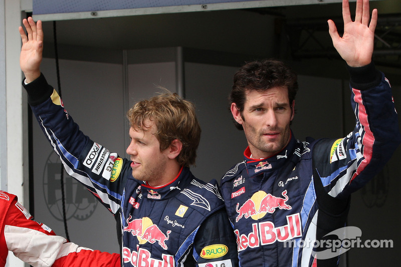 Polepositie Sebastian Vettel, Red Bull Racing, 2de Mark Webber, Red Bull Racing