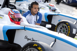 Mirko Bortolotti waits to start the session in the pits with Pablo Sanchez Lopez