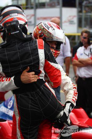 Race winner Nicola de Marco celebrates with Sergey Afanasiev in parc ferme