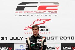 Race winner Nicola de Marco celebrates on the podium