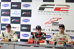 Dean Stoneman, Nicola de Marco and Sergey Afanasiev in the post race press conference