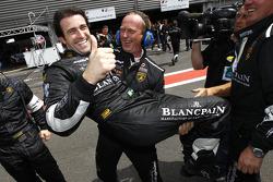 Race winner Ricardo Zonta celebrates