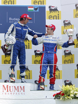 Giacomo Ricci celebrates his victory on the podium with Davide Valsecchi