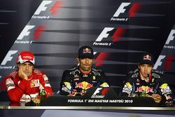 Press conference: race winner Mark Webber, Red Bull Racing, second place Fernando Alonso, Scuderia Ferrari, third place Sebastian Vettel, Red Bull Racing