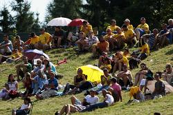 Spectators watch the action
