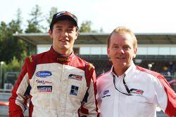 Race winner Jolyon Palmer with Jonathan Palmer CEO MotorSport Vision