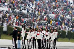 Roush Fenway Racing Ford team members celebrate the win of Greg Biffle