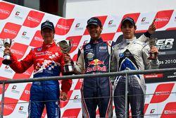 Podium from left: James Calado, Jean-Eric Vergne and Gabriel Dias