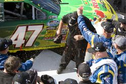 Victory lane: race winner Marcos Ambrose