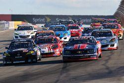 GT start: #70 SpeedSource Mazda RX-8: Jonathan Bomarito, Sylvain Tremblay, #57 Stevenson Motorsports