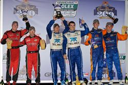DP podium: class and overall winners Memo Rojas and Scott Pruett, second place Max Angelelli and Ric