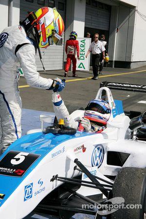 Second place Laurens Vanthoor, Signature, Dallara F308 Volkswagen and race winner Edoardo Mortara, S