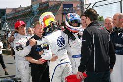 Race winner Edoardo Mortara, Signature, Dallara F308 Volkswagen, second place Laurens Vanthoor, Signature, Dallara F308 Volkswagen, third place Roberto Merhi, Mücke Motorsport, Dallara F308 Mercedes