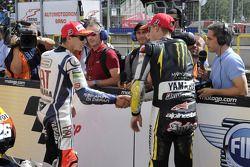 Третье место - Хорхе Лоренсо, Fiat Yamaha Team и второе место - Бен Спис, Monster Yamaha Tech 3
