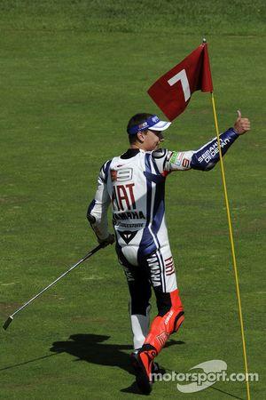 Race winner Jorge Lorenzo, Fiat Yamaha Team celebrates on the golf course