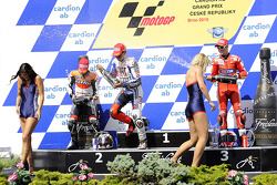 Podium: race winner Jorge Lorenzo, Fiat Yamaha Team, second place Dani Pedrosa, Repsol Honda Team, t