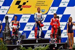 Podium: Sieger Jorge Lorenzo, Fiat Yamaha Team; 2. Dani Pedrosa, Repsol Honda Team; 3. Casey Stoner,