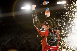 Victory lane race winner Kyle Busch celebrates