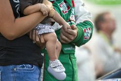 Elliot Sadler with his wife and son during